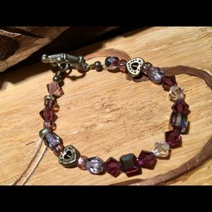 Jewelry - Crystal Beaded Antique Silver-Tone Toggle Bracelet